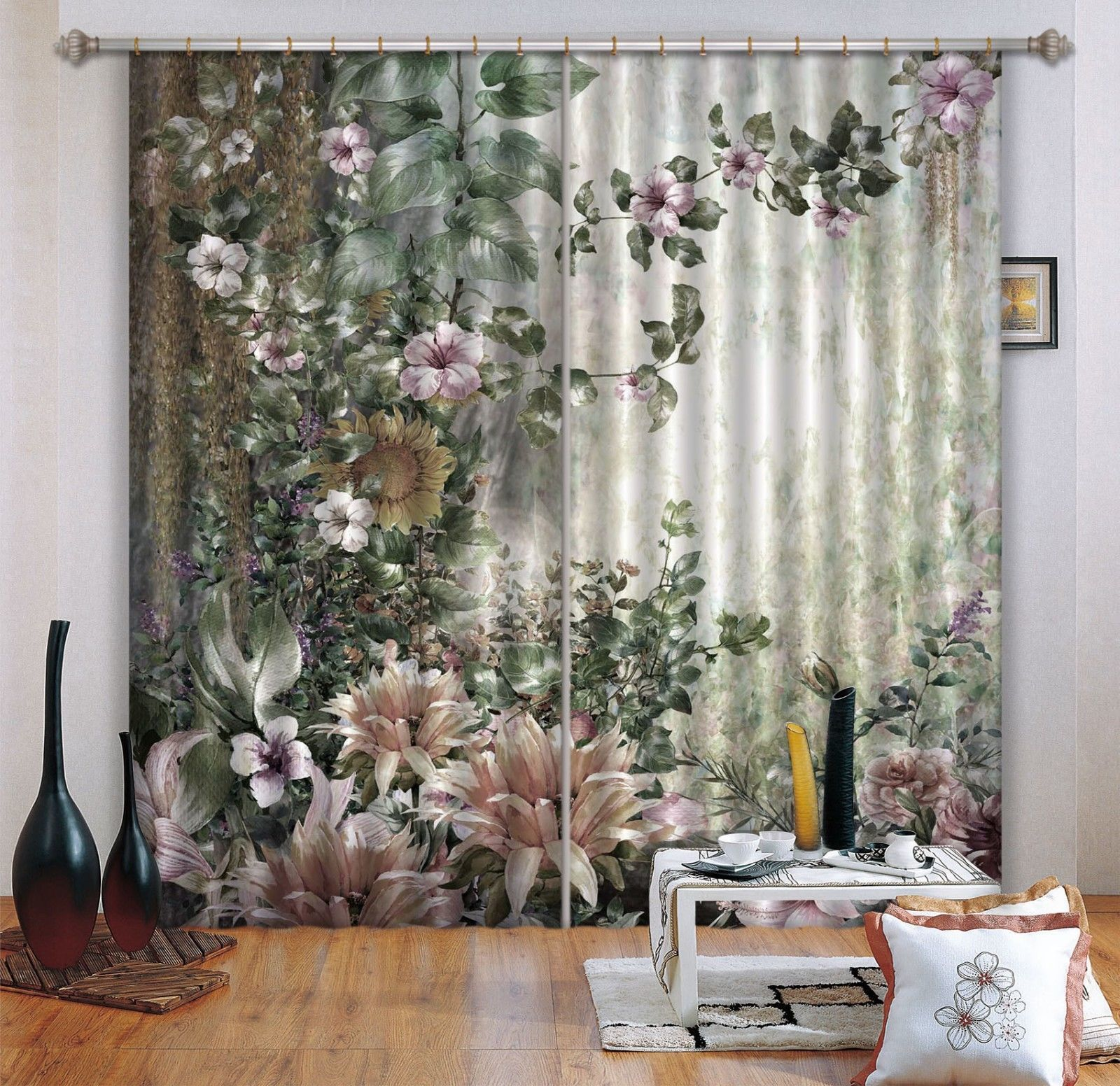 Primary image for 3D Flower Bloom Paint 221 Blockout Photo Curtain Print Curtains Drapes US Lemon