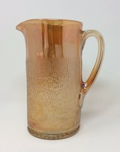 Vintage Carnival Glass Marigold Tree Bark Style Pitcher Mid Century Mode... - $18.70