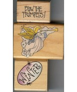 Lot of 3 Rubber Stamp #562 & A1192 Winter Angel & Trumpets B3 - $8.79