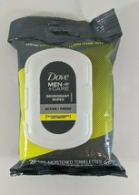 Dove Men Care Deodorant Wipes 25 Towelettes Active + Fresh On The Go New Sealed - $7.91