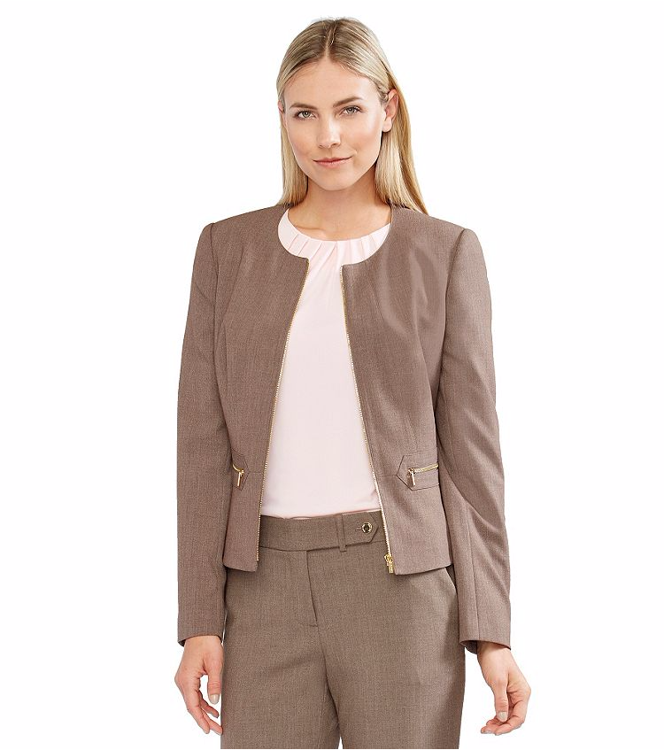 Primary image for NWT CALVIN KLEIN BROWN ZIP FRONT CAREER JACKET SIZE 12 SIZE 14 $129