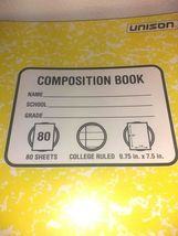 PACK OF 6 Unison Composition/Notebook 80 Sheets College Ruled- QUANTITY DISCOUNT image 4