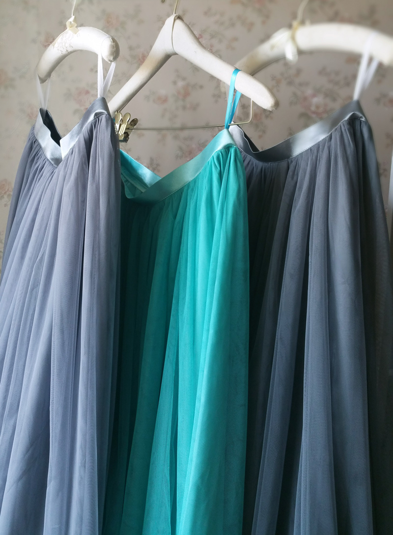 Dressromantic Full Maxi Tulle Skirts Gray Wedding Bridal Bridesmaid Tulle Skirts