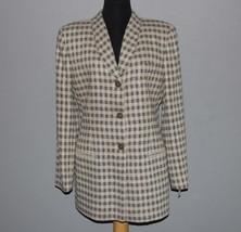 GIORGIO ARMANI Le Collezioni Grey Plaid Checks Wool Silk Blazer Wms 8 MS... - $179.99