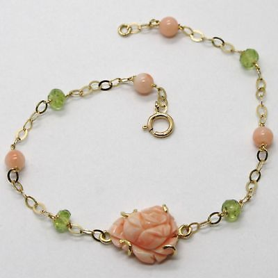 BRACELET YELLOW GOLD 18K 750 CORAL PINK NATURAL PERIDOT MADE IN ITALY