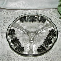 """FOOTED GLASS CANDY DISH WITH SILVER OVERLAY FLOWERS 7.25"""" SCALLOPED RIM ... - $22.99"""