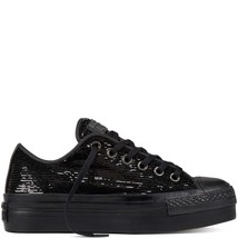 Women's Converse Chuck T All S Sequin Platform Low Top Ox, 558984C Sizes 6-10 Black - $89.95