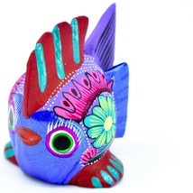 Handmade Alebrijes Oaxacan Wood Carving Painted Folk Art Colorful Fish Figurine