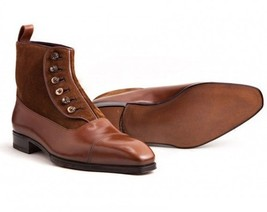 Handmade Men's Brown Suede And Leather Two Tone Buttons Boots image 4