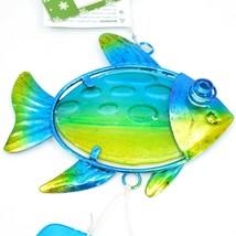 Metal & Glass Blue Green Fish Coastal Beach Ocean Marine Suncatcher Ornament image 2