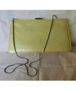 Vintage Yellow GIANI BERNINI Croco Leather Convertible Clutch Bag Goldtone Chain - £41.98 GBP