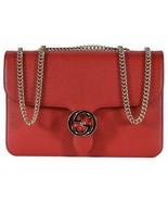 NEW Gucci 510303 Red Leather Interlocking GG Marmont Crossbody Purse Han... - $1,678.05