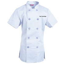 Embroidered Women's Chef Coat Short Sleeve Chef Shirt Personalized with ... - $29.98