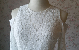 White Lace Cold Shoulder Top Long Sleeve White Lace Wedding Bridesmaid Top Plus image 8