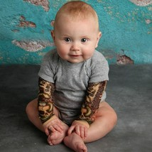 Winter Newborn Baby Boy Clothes Tattoo Printed Long Sleeve Patchwork Romper - $21.31+
