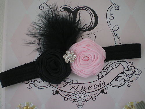 BABY GIRL ADJUSTABLE HEADBAND WITH BLACK AND  PINK ROLLED ROSETTES PHOTO PROP