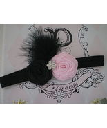 BABY GIRL BLACK HEADBAND WITH BLACK AND  PINK R... - $7.99