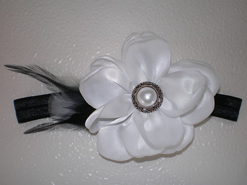 BABY GIRL BLACK HEADBAND WITH HANDMADE WHITE SATIN FLOWER PHOTO PROP FEATHERS
