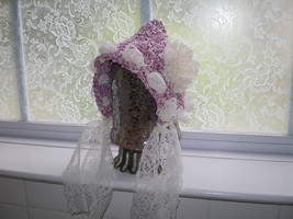 BABY GIRL DARK PINK PIXIE PHOTO PROP HAT WITH LACE FLOWER BOW - $14.00