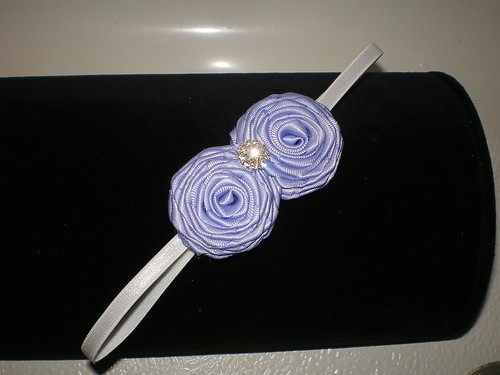 BABY GIRL HEADBAND WITH U-PICK YELLOW PINK RED PEACH OR LAVENDER ROSETTES