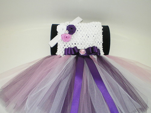 BABY GIRL LONG PLUM, PINK & WHITE TUTU PHOTO PROP DRESS WITH HEADBAND