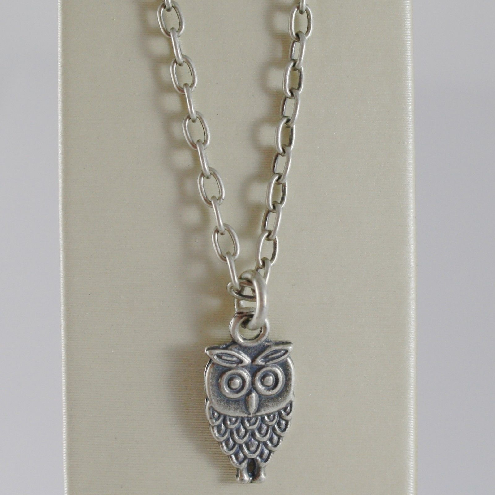 925 BURNISHED SILVER NECKLACE FLAT OWL PENDANT WITH OVAL CHAIN MADE IN ITALY