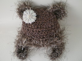 BABY GIRL MEDIUM BROWN/TAUPEY KITTY/TEDDY BEAR PHOTO PROP HAT - $14.00