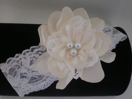 Baby Girl Off White Lace Headband With Ivory Satin Flower - $10.00