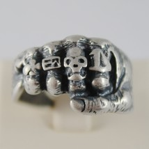 925 BURNISHED SILVER BAND FIST HAND RING WITH RINGS SKULL FINGERS MADE IN ITALY