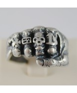 925 BURNISHED SILVER BAND FIST HAND RING WITH RINGS SKULL FINGERS MADE I... - $89.40