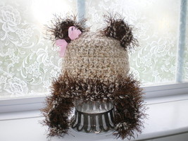 BABY GIRL OR BOY LIGHT TAN TEDDY BEAR  PHOTO PROP HAT - $14.00