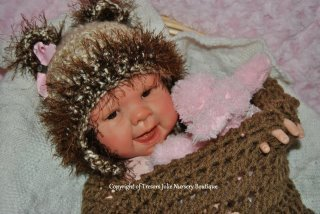 BABY GIRL OR BOY LIGHT TAN TEDDY BEAR  PHOTO PROP HAT