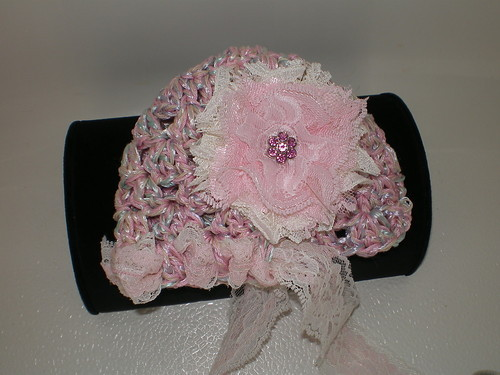 BABY GIRL PASTEL PHOTO PROP HAT WITH OFF WHITE AND PINK LACE