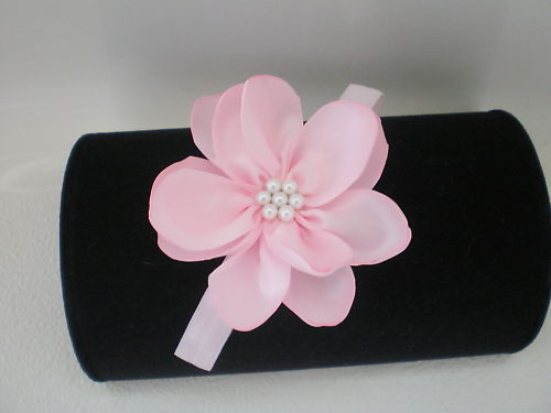BABY GIRL PINK SKINNY HEADBAND WITH PINK HANDMADE PINK PETAL FLOWER PHOTO PROP