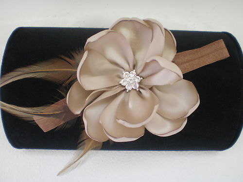 BABY GIRL SKINNY HEADBAND WITH TAUPE/TAN FEATHER FLOWER PHOTO PROP