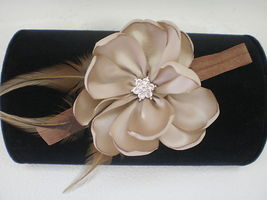 Baby Girl Skinny Headband With Taupe/Tan Feather Flower Photo Prop - $7.99