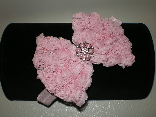 BABY GIRL SKINNY PINK HEADBAND WITH A PINK ROSETTE BOW PHOTO PROP