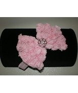 BABY GIRL SKINNY PINK HEADBAND WITH A PINK ROSETTE BOW PHOTO PROP - $9.00