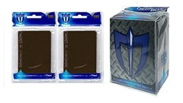 100 Chocolate Brown Shuffle-Tech Gloss Finish Sleeves + Deck Box (fits Magic Car - $6.99