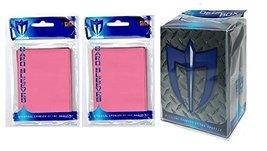 100 Pink Shuffle-Tech Gloss Finish Sleeves + Deck Box (fits Magic Cards) - $6.99