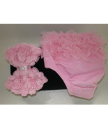 BABY GIRL SMALL PINK RUFFLE BLOOMERS WITH MATCH... - $14.00