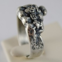 925 BURNISHED SILVER BAND FIST HAND RING WITH RINGS SKULL FINGERS MADE IN ITALY image 3