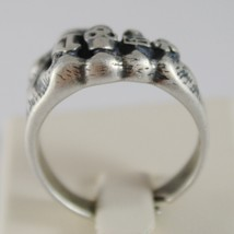 925 BURNISHED SILVER BAND FIST HAND RING WITH RINGS SKULL FINGERS MADE IN ITALY image 4