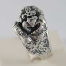 925 BURNISHED SILVER BAND FIST HAND RING WITH RINGS SKULL FINGERS MADE IN ITALY image 2