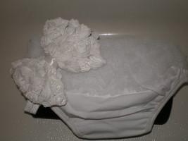 Baby Girl Small White Ruffle Bloomers With Matching Headband Photo Prop - $10.00