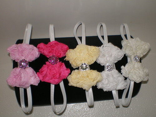 BABY GIRL TINY BOWTIE HEADBAND  U-PICK WHITE OFF-WHITE YELLOW PINK OR FUCHSIA