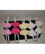 BABY GIRL TINY BOWTIE HEADBAND  U-PICK WHITE OF... - $7.50