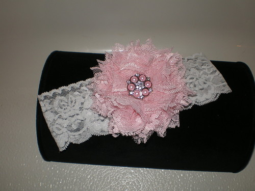 BABY GIRL WHITE LACE HEADBAND WITH A HANDMADE PINK LACE FLOWER PHOTO PROP