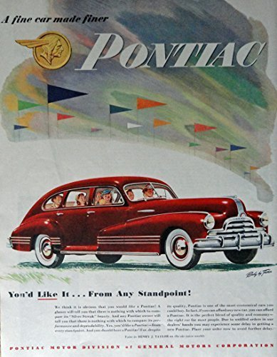 Primary image for 1947 Pontiac, 40's Print ad. Full Page Color Illustration (body by Fisher/ tu...