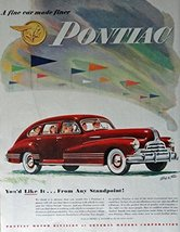 1947 Pontiac, 40's Print ad. Full Page Color Illustration (body by Fishe... - $13.85